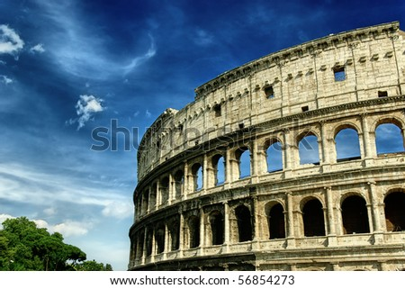 The Colosseum at a stormy day - stock photo