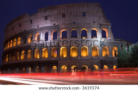 The Colosseum At Dusk, Rome,  Italy - stock photo