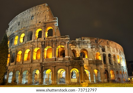 The Colosseum at night, Rome - stock photo