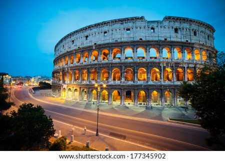 The Colosseum at night, Rome, Italy  - stock photo