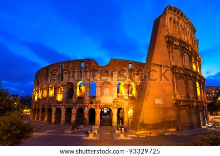 The Colosseum in Rome at the Blue Hour - stock photo