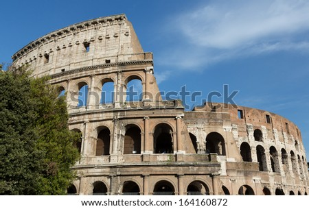 The Colosseum in Rome, Italy on a sunny day, shot landscape.