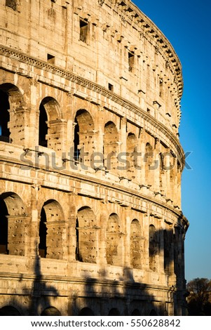 The Colosseum of Rome in the morning light during the summer in Rome, Italy.