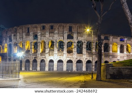 The Colosseum or Coliseum, also known as the Flavian Amphitheatre is an elliptical amphitheatre in the centre of the city of Rome, Italy. Evening