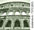 The Colosseum or Coliseum (Colosseo) in Rome - high dynamic range HDR - stock photo
