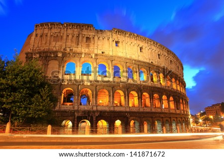 The Colosseum or Coliseum in the centre of the city of Rome, Italy. - stock photo