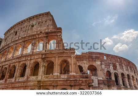 The Colosseum or Flavian Amphitheatre - an amphitheater, an architectural monument of ancient Rome. Italy. - stock photo