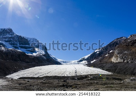 The Columbia Icefield is the largest ice field in the Rocky Mountains of North America. Located in the Canadian Rockies astride the Continental Divide along the border of British Columbia and Alberta - stock photo