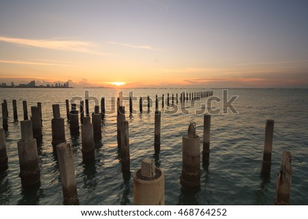 the column in the sea when sunset