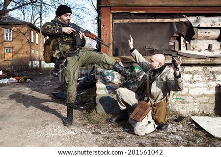 The combat aims to kill the hostage - stock photo