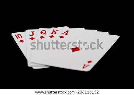 The combination of playing cards poker casino. Isolated on black background