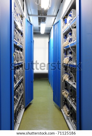 The communication and internet network server room - stock photo