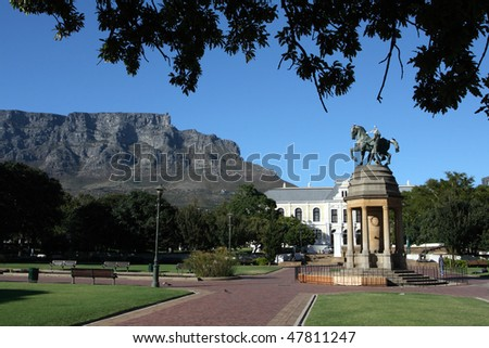 The Company Gardens in Cape Town with Table Mountain in the background. - stock photo