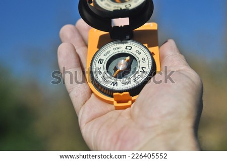 The compass in the palm of your hand. Open the compass helps not to get lost on a walk.