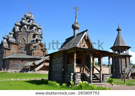 "The complex ""Manor Bogoslovka"" in the style of Russian wooden architecture in the Nevsky Forest Park in St. Petersburg. - stock photo"