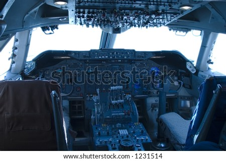 The complex world of a 747 jumbo-jet cockpit. - stock photo
