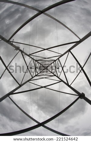 The composition made from the structure of powerlines - stock photo