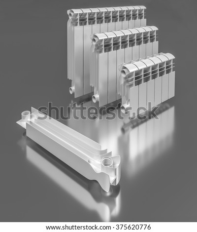 The composition of sectional aluminum radiators - stock photo