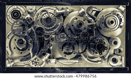 The composition of the old machine and motorcycles parts.