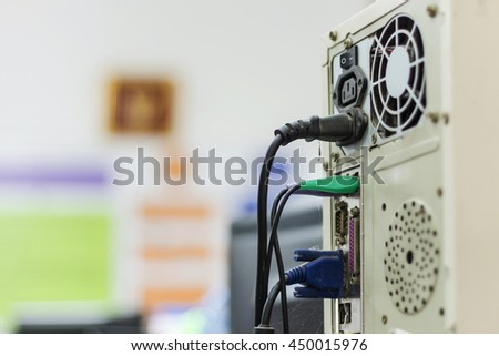 The computer cases prepared for use in the service center. - stock photo