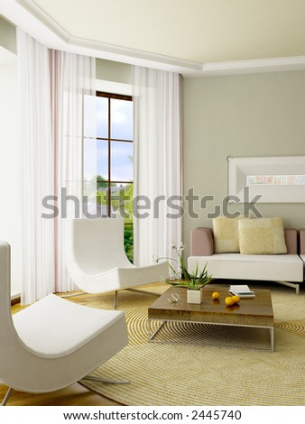 The computer generated 3D image of the modern interior - stock photo