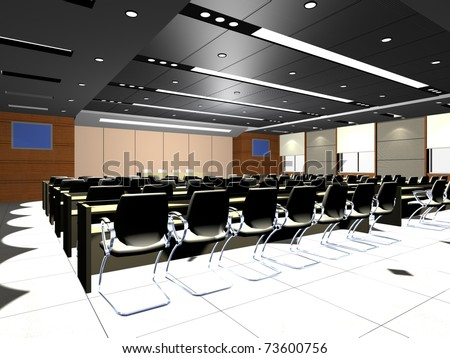 the computer generated  image of the modern conference hall