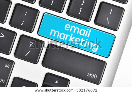 The computer keyboard button written word email marketing . - stock photo