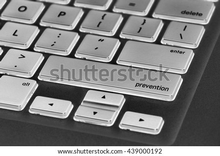 The computer keyboard button written word prevention . - stock photo
