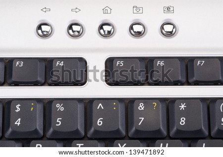 The computer keyboard on a background