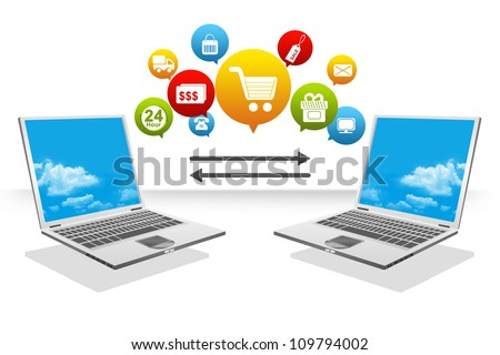 The Computer Notebook Transfer Data With Group of Online Shopping Icon For Online Shopping Concept Isolated on White Background - stock photo