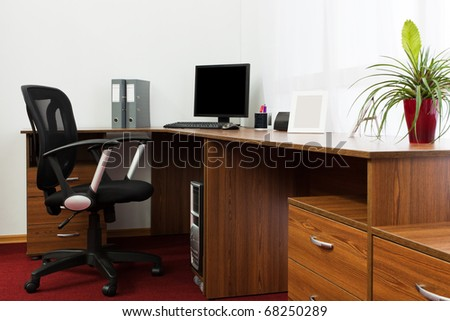 The computer on a desk at modern office