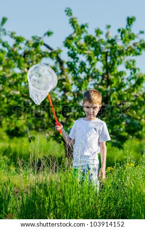 the concentrated boy looks for a butterfly in a blossoming garden - stock photo