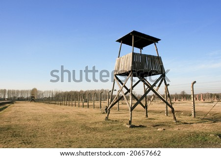 The concentration camp of Birkenau near Cracow in Poland - stock photo