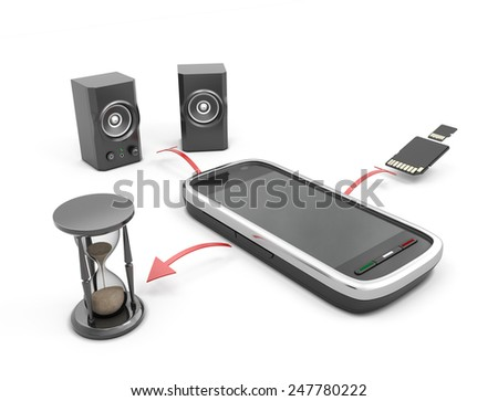 The concept features a mobile phone. Your phone as a clock radio and drive. - stock photo