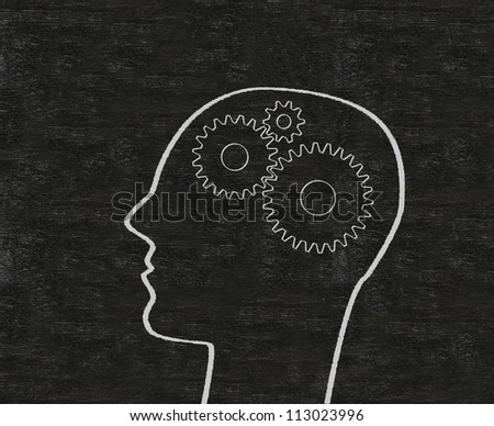 the concept gear in head of the human and the brain written on blackboard background - stock photo