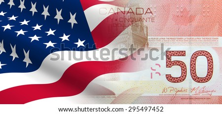 The concept of and economic political relationships the United States with Canada. - stock photo