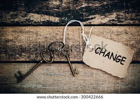 The concept of 'change' is translated by key and silver key chain - stock photo