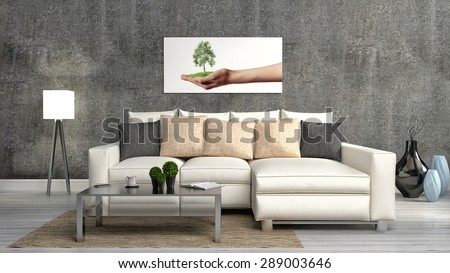 The concept of eco-friendly interior. Sofa, table, lamp on the background of a concrete wall. 3d illustration - stock photo