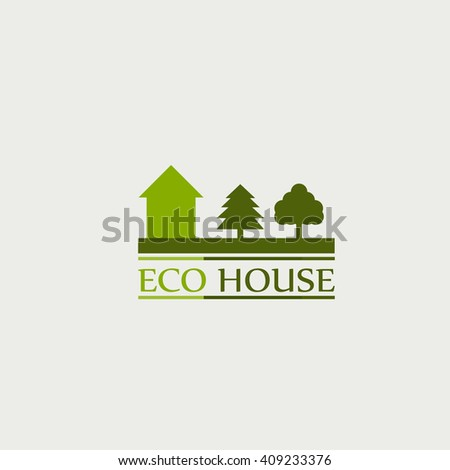 the concept of ecological house. logo.  - stock photo