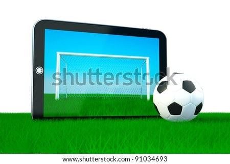 the concept of games on electronic devices, soccer ball with tablet  with gates on screen - stock photo