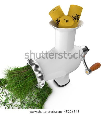 The concept of hazardous waste. Waste turned into the grass. - stock photo