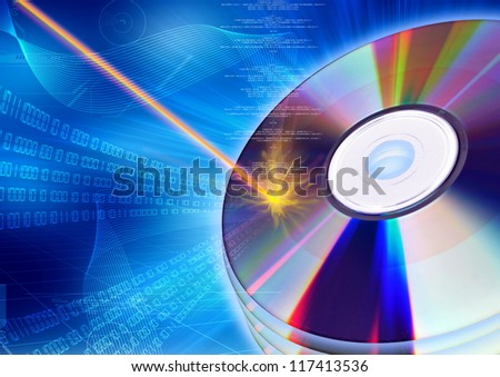 The concept of inserting digital information with burning process into a CD or DVD - stock photo