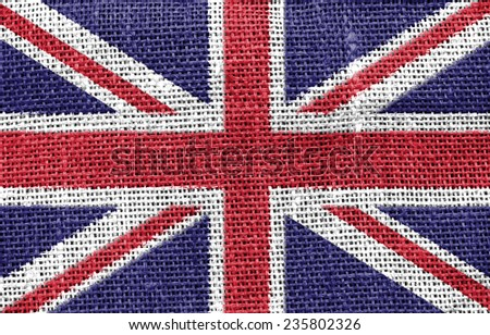 The concept of national flag on canvas background: UK