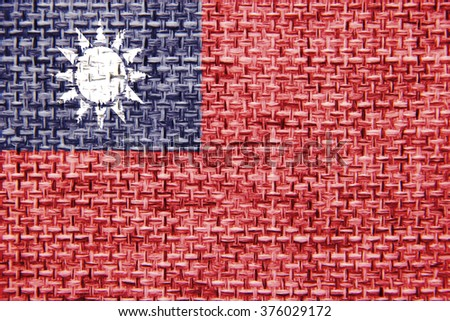 The concept of national flag on canvas jute background: Taiwan - stock photo