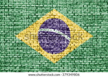 The concept of national flag on canvas jute fabric background: Brazil