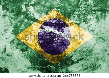 The concept of national flag on grunge rusty oiled background: Brazil - stock photo