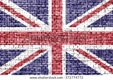 The concept of national flag on jute canvas background: UK