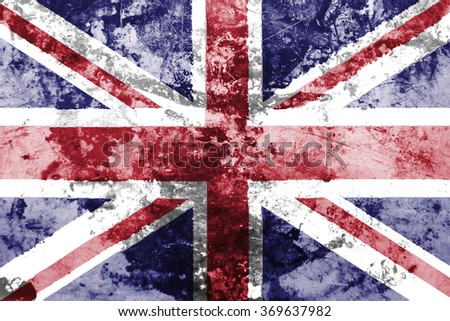 The concept of national flag on old rusty grunge background: UK