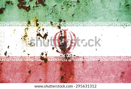 The concept of national flag on old rusty metal background: Iran