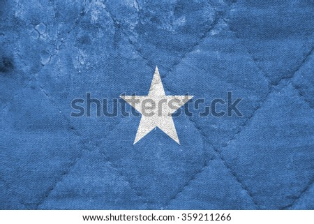 The concept of national flag on stitched canvas background: Somalia - stock photo